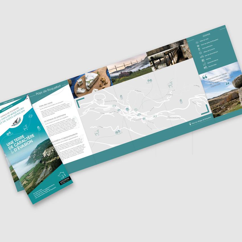 Office de Tourisme du Pays de Roquefort et du Saint-Affricain - brochure dépliant avec carte