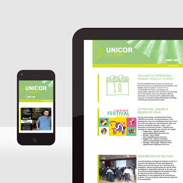 Unicor – e-mailing interne