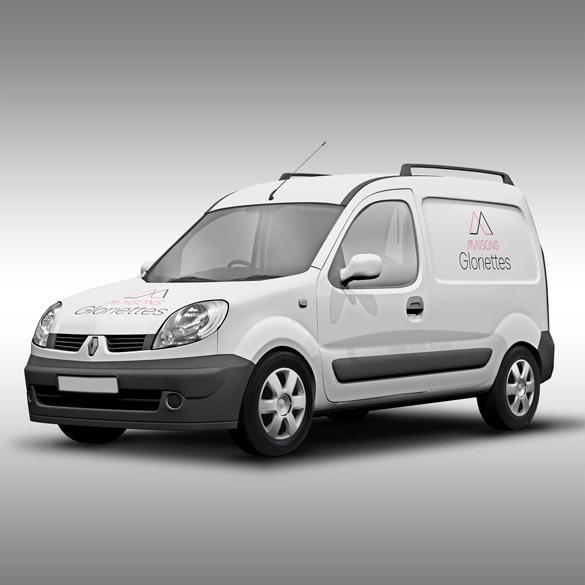 Flocage de véhicule avec le logo des Maisons Gloriettes